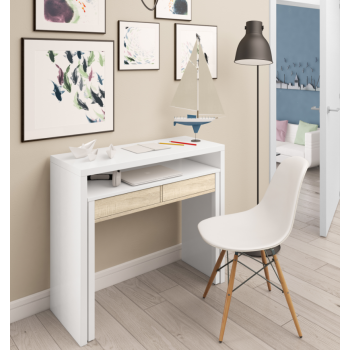 Scrivania 98,5x36 cm allungabile Bianco artik e rovere canadian con due cassetti