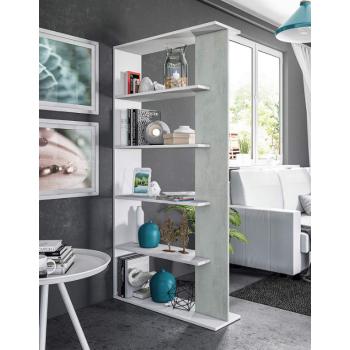 Libreria 180 cm Bianco artik e Cemento con cinque ripiani