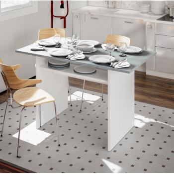 Tavolo 120x70 cm pieghevole a libro Bianco artik e Cemento
