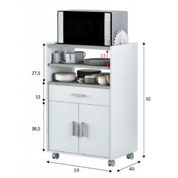 Mobiletto microonde 92 cm Bianco opaco e Cemento con due ante ed un cassetto