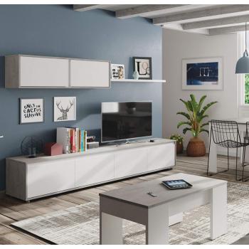 Mobile soggiorno Alida Bianco artik e cemento set a parete porta TV