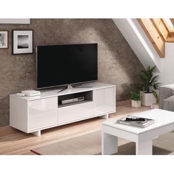 Mobile soggiorno porta Tv Zaira 150 cm Bianco lucido e Grigio cenere con tre ante