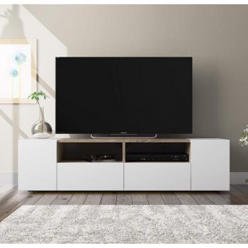 Mobile soggiorno porta Tv Kioto 130 cm Bianco artik e Rovere canadian con due ante