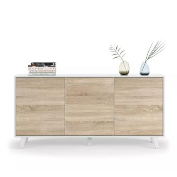 Mobile soggiorno porta TV Zaiken Plus 154 cm Bianco lucido e Rovere canadian con tre ante