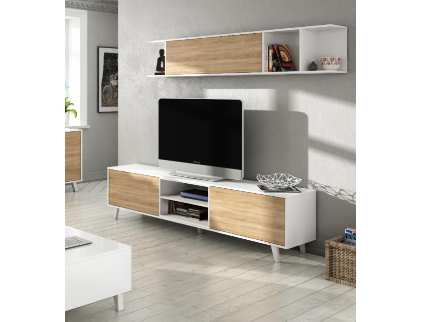 Parete Mobili Porta Tv Design.Mobile Soggiorno Zaiken Plus 180 Cm Bianco Lucido E Rovere