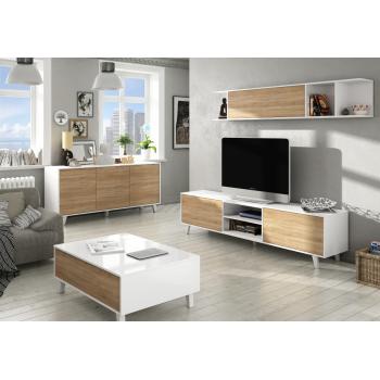 Mobile soggiorno Zaiken Plus 180 cm Bianco lucido e Rovere canadian set a parete porta TV