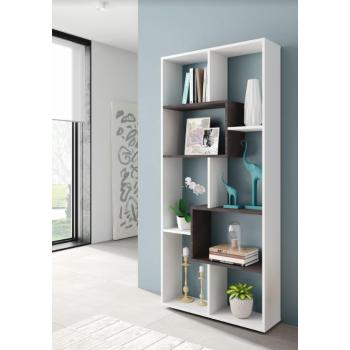 Libreria alta 180 cm Bianco artik ed Ossido con otto scomparti