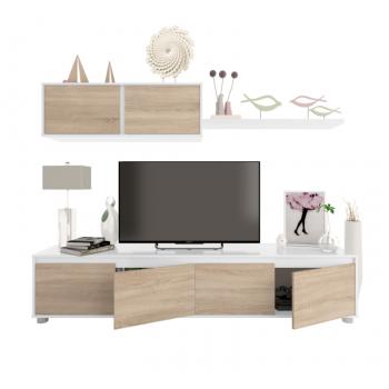 Mobile soggiorno Alida Rovere canadian e Bianco artik set a parete porta TV