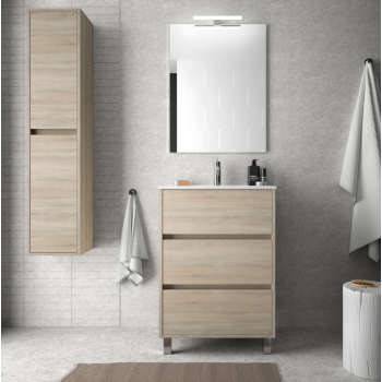 Mobile bagno 60 cm in legno marrone Caledonia con lavabo