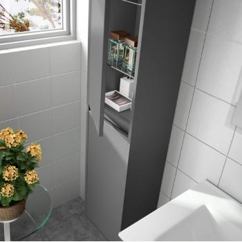 Mobile bagno a terra 60 cm in legno grigio opaco con lavabo