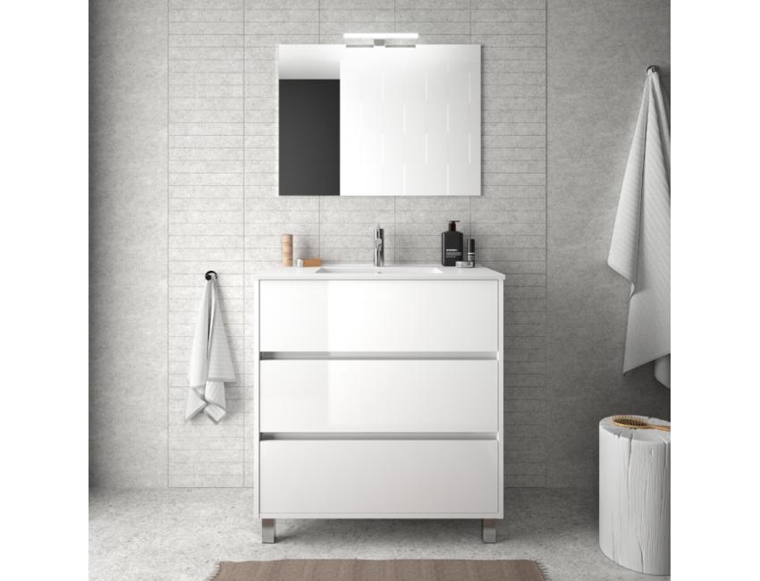 Mobile bagno a terra 80 cm in legno laccato Bianco lucido con lavabo in porcellana