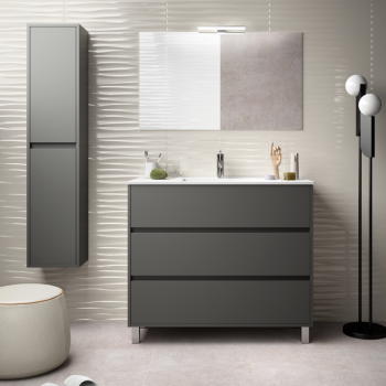 Mobile bagno a terra 100 cm in legno grigio opaco con lavabo in porcellana