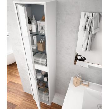 Mobile bagno 60 cm in legno Bianco lucido con lavabo in porcellana
