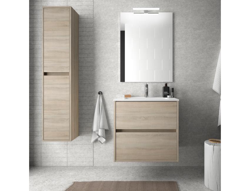 Meuble de salle de bain suspendu 60 cm marron Caledonia avec lavabo en  porcelaine Accessoires Standard
