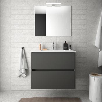 Mobile bagno sospeso 60 cm in legno grigio opaco con lavabo in porcellana