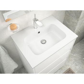 Mobile bagno sospeso 80 cm in legno laccato bianco lucido con lavabo in porcellana