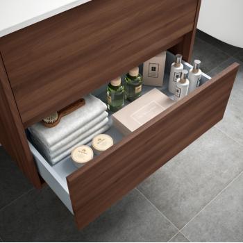 Mobile bagno sospeso 80 cm in legno grigio opaco con lavabo in porcellana