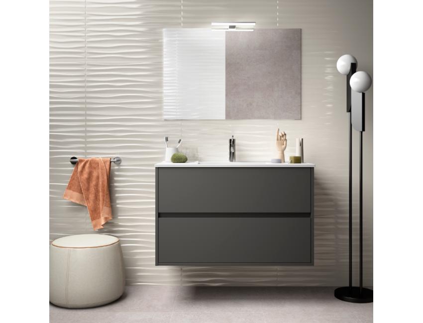 Mobile bagno sospeso 90 cm in legno grigio opaco con lavabo in ...