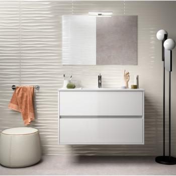 Mobile bagno sospeso 90 cm in legno marrone Caledonia con lavabo in porcellana