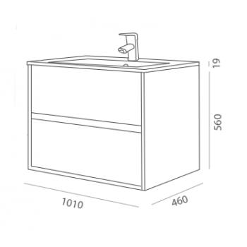 Mobile bagno sospeso 100 cm in legno laccato bianco lucido con lavabo in porcellana