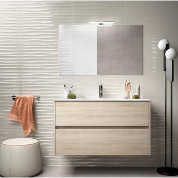 Mobile bagno sospeso 100 cm in legno marrone Caledonia con lavabo in porcellana