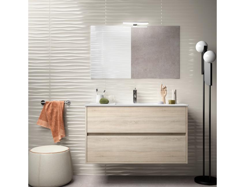 Meuble de salle de bain suspendu 100 cm marron Caledonia avec lavabo en  porcelaine Accessoires Standard