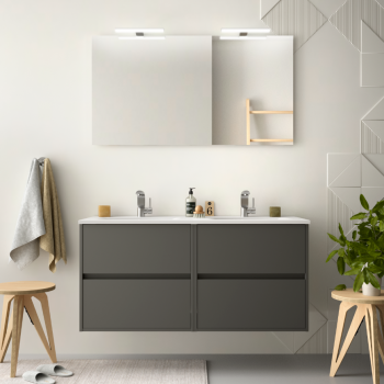 Mobile bagno sospeso 120 cm in legno marrone Caledonia con lavabo in porcellana