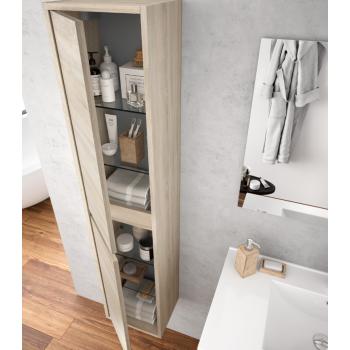 Mobile bagno a terra 80 cm in legno marrone Caledonia con lavabo in porcellana