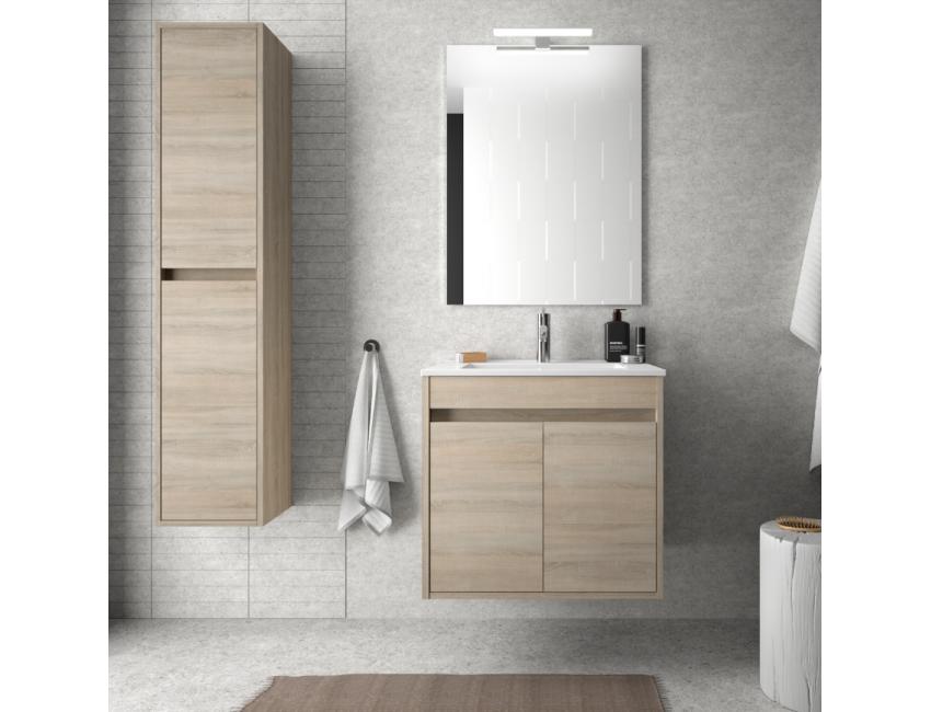 Mobile bagno sospeso 60 cm in legno laccato Bianco lucido con lavabo in porcellana e due ante