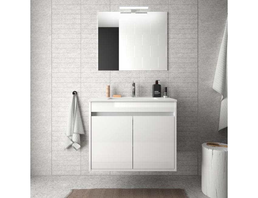 Mobile bagno sospeso 70 cm in legno laccato Bianco lucido con lavabo in  porcellana e due ante Accessorio Standard