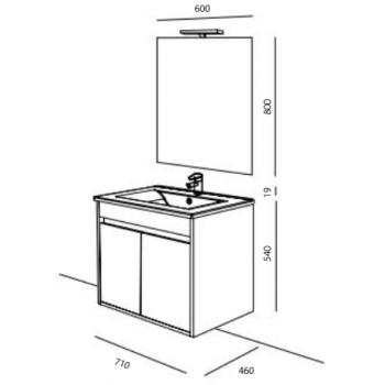Mobile bagno sospeso 70 cm in legno laccato Bianco lucido con lavabo in porcellana e due ante