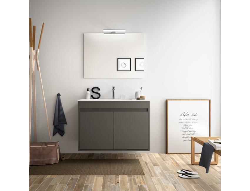 Mobile bagno sospeso 80 cm in legno laccato Bianco lucido con lavabo in porcellana e due ante