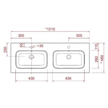 Mobile bagno sospeso 120 cm in legno laccato Bianco lucido con due ante
