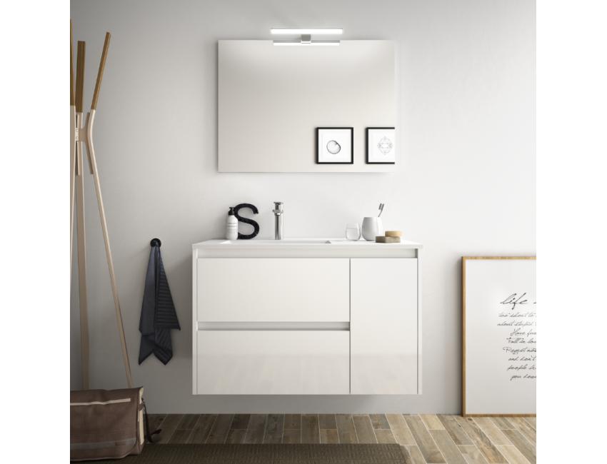 Mobile bagno sospeso 85 cm in legno marrone Caledonia con lavabo in porcellana