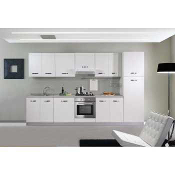 Base sottolavello cucina 120x50xH85 in legno con lavello a doppia vasca