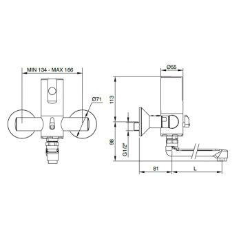 Idral Miscelatore elettronico a parete per lavello/lavabo con bocca girevole One 02552/1