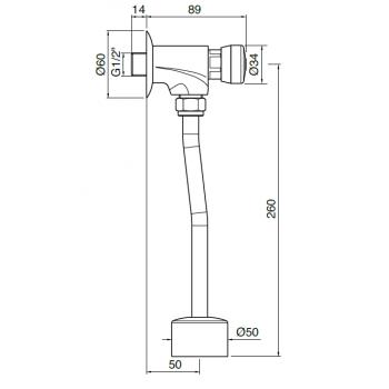 Idral Rubinetto per orinatoio con comando a pulsante 08020/E