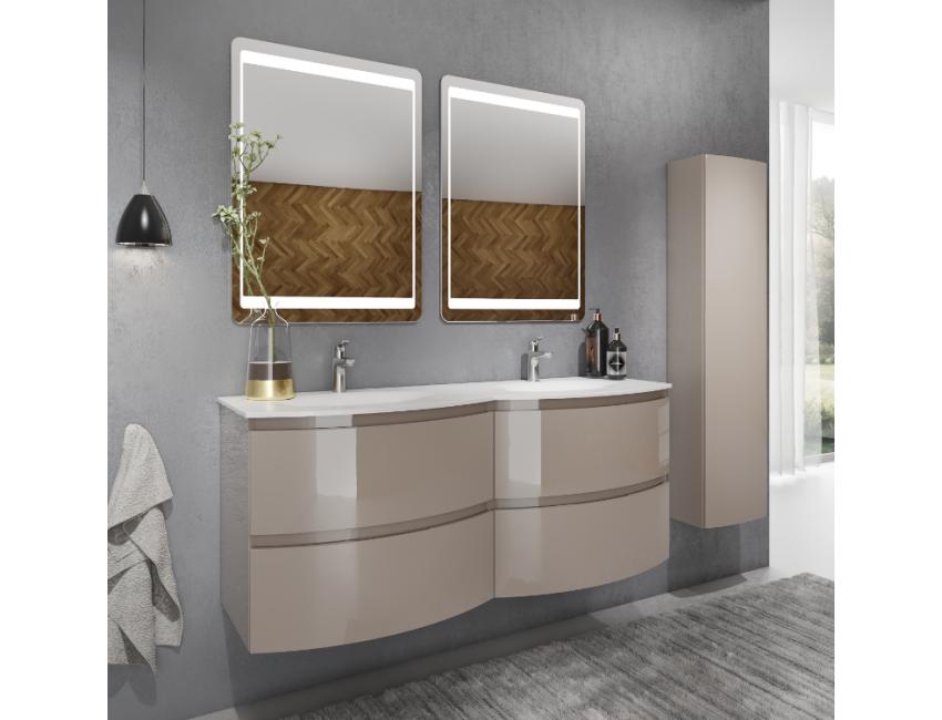 Mobile bagno sospeso 140 cm Atene in legno Cappuccino Lucido con Lavabo  Accessorio Standard