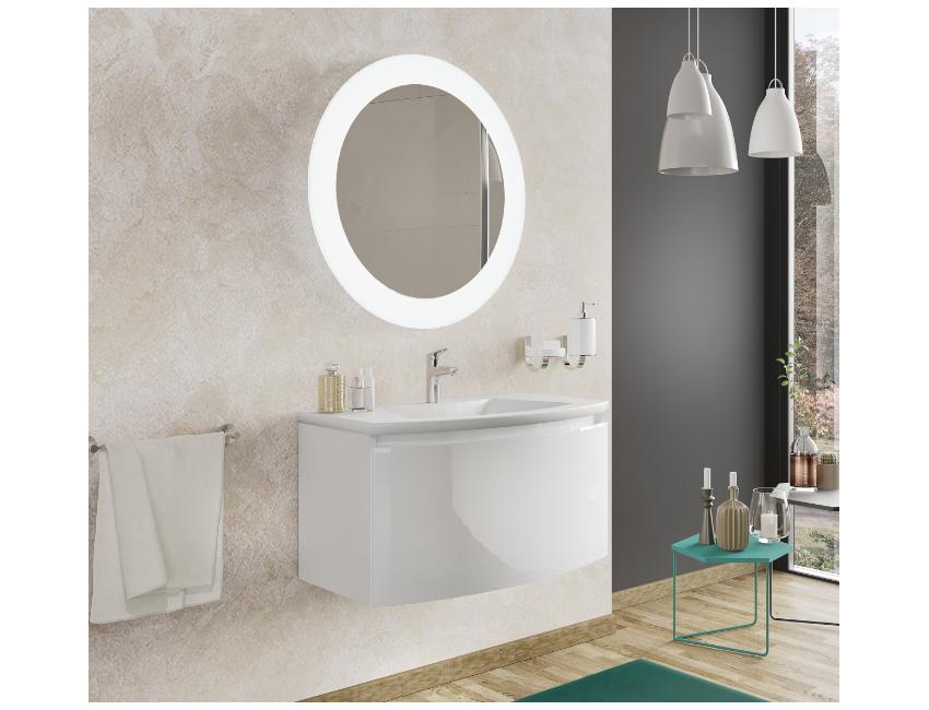 Mobile bagno sospeso 80 cm Venere in legno Bianco Lucido con Lavabo in ceramica