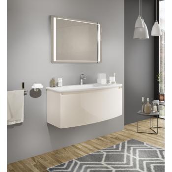 Mobile bagno sospeso 80 cm Venere in legno Crema lucido con Lavabo in ceramica