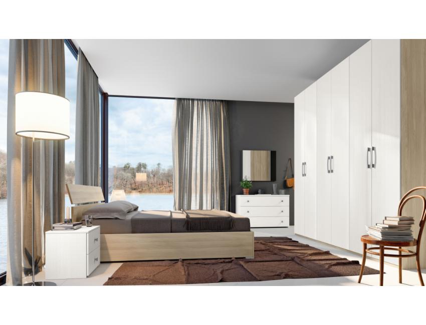 Camera da letto Vittoria in legno Bianco Graffiato ed Olmo Colore Bianco  Graffiato