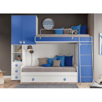 Cameretta per Bambini Kira in legno Bianco frassinato e Blu