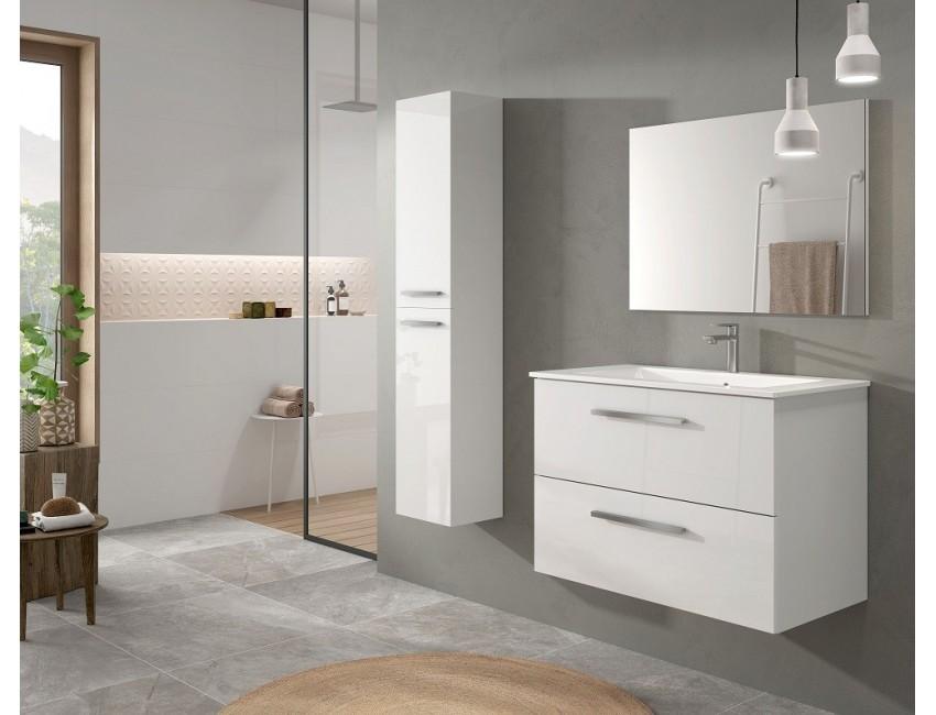 Mobile bagno sospeso 80 cm laccato bianco lucido con specchio 305161BO Colore Bianco lucido Accessorio Standard