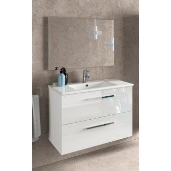 Mobile bagno sospeso 80 cm laccato bianco lucido con specchio