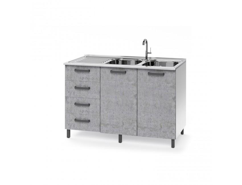 Base Sottolavello Cucina 120x50xh85 In Legno Bianco Frassinato E Cemento Con Cassettiera E Lavello A Doppia Vasca Colore Cemento Bianco Caesaroo S A S