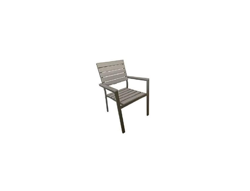 Sedie In Alluminio E Legno.Set 4 Sedie Deiva Impilabili In Alluminio E Resin Wood Materiale