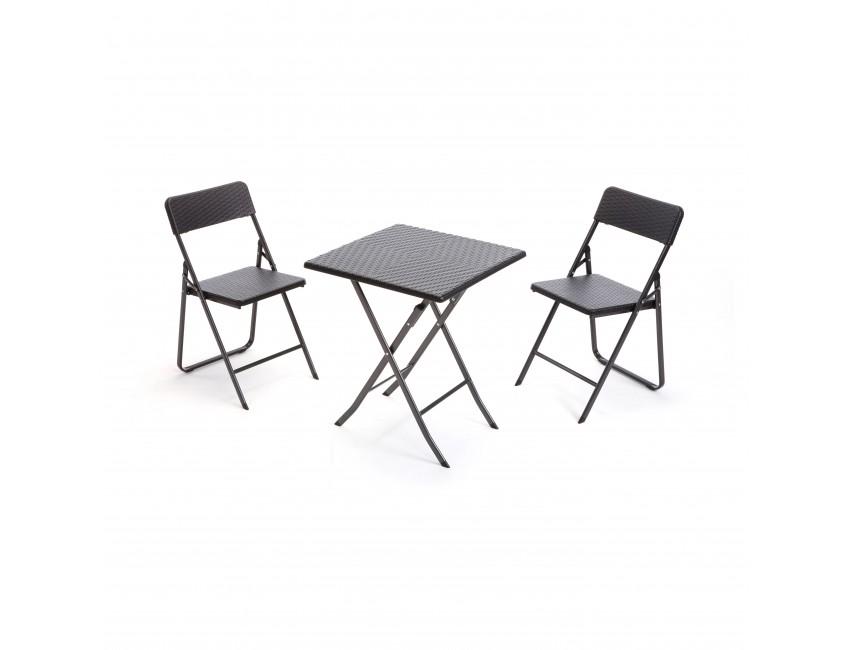 Set giardino tavolo quadrato 2 sedie pieghevoli polyrattan for Ferro tubolare quadrato prezzo