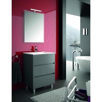 Mobile bagno 600 in legno grigio opaco con lavabo Arenys