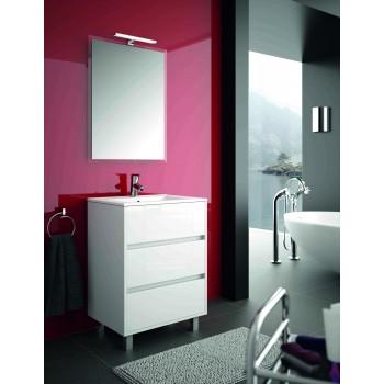 Mobile bagno 600 in legno laccato bianco lucido con lavabo Arenys