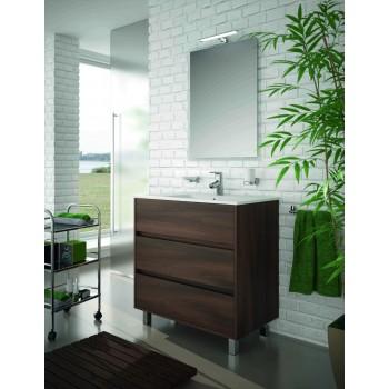 Mobile bagno 800 in legno marrone Acacia con lavabo Arenys
